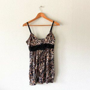 Janette Leopard Animal Print Tank Top With Belt